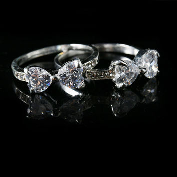 1PC Fashion Women Lady Crystal Wedding Engaged Bow Shaped Finger Rings Nice Jewelry Gift