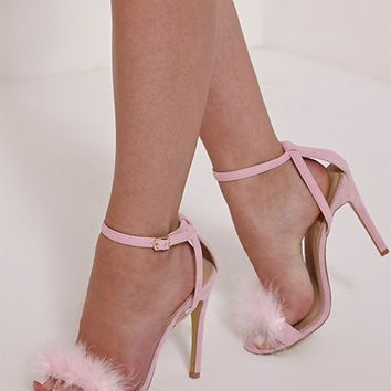 Gina Baby Pink Faux Suede Fluffy Heels - High Heels - PrettylittleThing | PrettyLittleThing.com