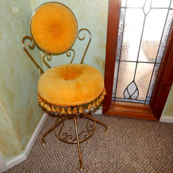 Vanity Table Swivel Chair Golden Yellow Tufted Fringed Velvet Stool Antique Delta Metal Industries Boudoir Furniture Hollywood Regency Decor