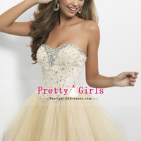 Homecoming Dresses A-Line Sweetheart Tulle Champagne Sleeveless With Corset Tie Back Short $157.49 PGDPX98CF2P - PrettyGirlsDresses.com