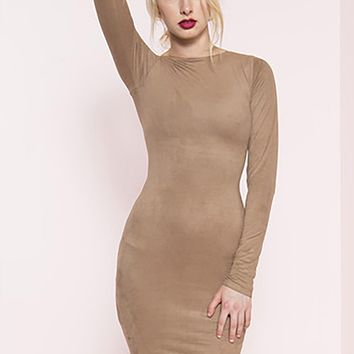 Per Suede Me Micro Suede Long Sleeve Midi Dress