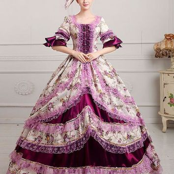 Free PP Medieval Renaissance Court Queen Victorian Ball Dress Medieval Lolita Party Halloween Costume For Women XXXL Plus