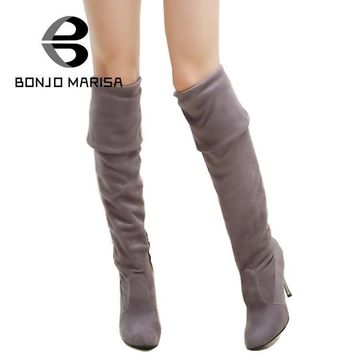 BONJOMARISA Big Size 34-43 High Heels Women Boots Over the Knee High Boots Party Sexy