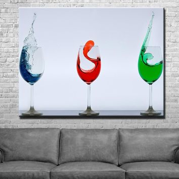 Wine Glasses Kitchen and Dining Room Wall Decor Canvas Set