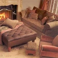 Barrington Pillow-Back Sofa in Leather and Nepal Fabrics - Sofas and Sectionals - Sofas and Chairs - Furniture - PoshLiving