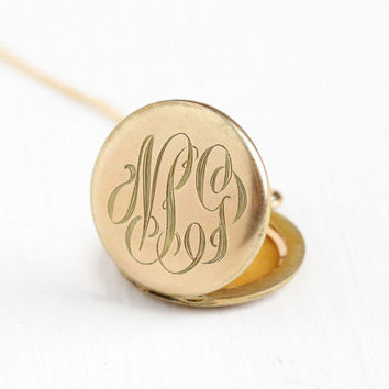 Antique Monogrammed 10k Gold Filled Round Locket Pendant Necklace - Vintage Early 1900 Edwardian Initial NSJ Photograph Personalized Jewelry