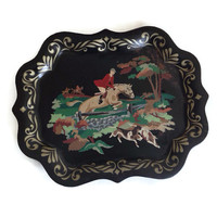 Vintage Tole Tray, Paint by Number, Horse Equestrian Scene, Retro Black Tin Metal Serving Tray, Hand Painted, Toleware, Shabby Chic