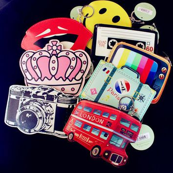 DCCKL3Z Creative Cute Cartoon Coin Purse Key Chain Girl Leather Bus Camera Smile Crown TV Lipstick Zipper Lady Change Wallet Card Holder