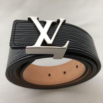 GK2JE Louis Vuitton - Black Leather Belt Logo