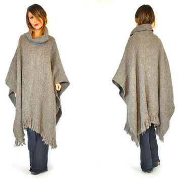vintage 1980s draped ECUADORIAN 100% wool smokey gray knitted PONCHO fringed maxi coat, one size fits all