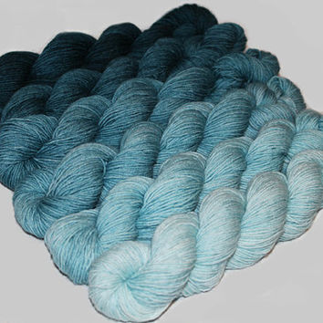 Gradient Yarn Set- Hand dyed Superwash  sock yarn  in Teal