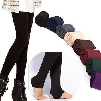 High Quality Women Autumn Winter THICK Warm Legging Brushed Lining Stretch Fleece Pants Trample Feet Leggings LM93