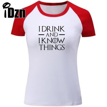 T-shirts Game of Thrones I Drink And I Know Things Tyrion Lannister Short Sleeve Tops