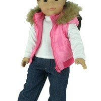 3 Pc. Set of 18 Inch Doll Clothing/Clothes By Sophia's, Fits American Girl Dolls, Doll Jeans, White T Shirt & Fur Puffy Doll Vest