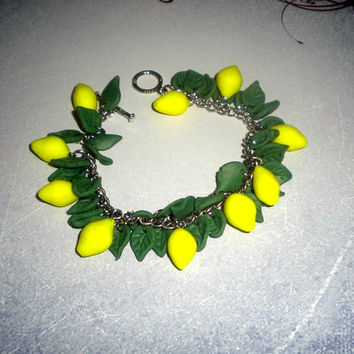 Bright lemon charm bracelet Fruit charm bracelet Polymer clay chain bracelet with charms Gift for her