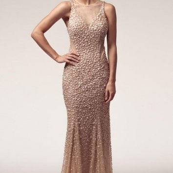 Kari Chang KC21 Beaded Sheer Back Nude Prom Dress with Train