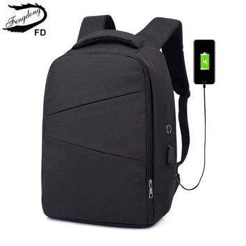 School Backpack trendy FengDong men smart business anti theft backpack usb charge travel laptop backpack male minimalist computer bag boys school bags AT_54_4
