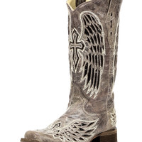 Women's Wing and Cross Sequins Square Toe Boot - Brown