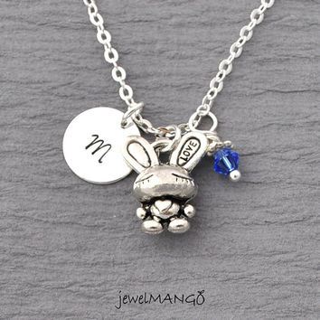 Cute love bunny rabbit necklace, pet lovers jewelry, gift for rabbit owner, cute, kawaii, bunny, swarovski birthstone, monogram, initial