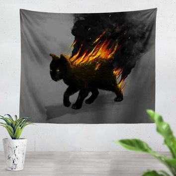 The Cat Is On Fire Tapestry