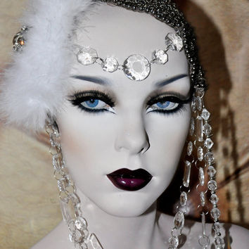 MADE TO ORDER White Maraboo Feather beaded gothic tribal gypsy drape coque headdress headpeice art deco lolita couture posh wig