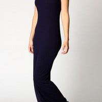 Deep Bluee Sleeveless Scoop Neck Maxi Dress