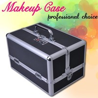 Professional Jewelry Cosmetic Makeup Train Case Bag Lockable Artist Aluminum Box