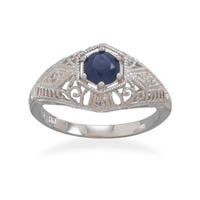 Rhodium Plated Dark Blue Cubic Zirconia Ring