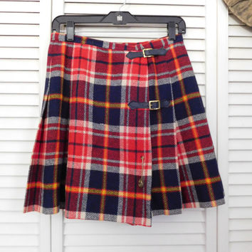 Tartan Pleated Skirt Red Plaid Skirt 80s Plaid Skirt Bobbie Brooks Skirt Size Medium Skirt Size Small Skirt Boho Plaid Skirt