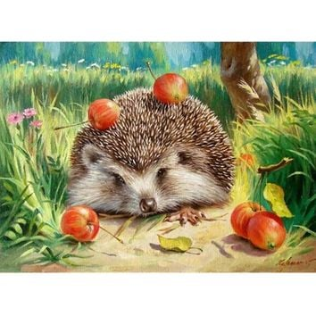 DIY Cartoon Hedgehog Painting Paint By Numbers On Canvas Handpainted Without Frame Oil Painting Wall Art Picture For Home Decor