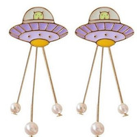 UFO And Pearls Dangle Earrings/Brooch