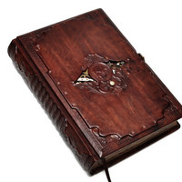 """Gothic,Steampunk leather journal - The Nautilus Ship's register - """"20,000 leagues under the sea"""" , 6.6x9.2inch (16.5x23cm), in gift box."""