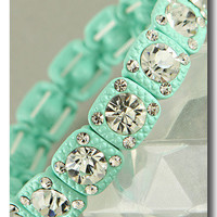 Mint Pastel Genuine Crystal Bracelet from p.s. I Love You More Boutique