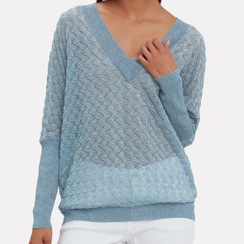Wavy Knit Lurex Sweater