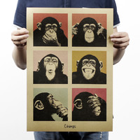 Vintage posters Gorilla Movie poster Wall stickers ,bar retro kraft paper posters wall sticker For Bar Cafe living room 51*35CM