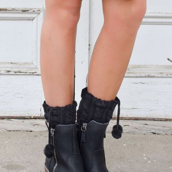 Pikes Peak Black Boot Cuffs with Pom Poms