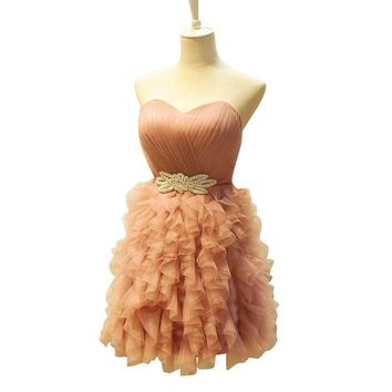 Blush Cocktail Dress Charming Short Homecoming Dress 2017 Sweetheart Lace up Tiered College Junior Graduation Party Dress 314104