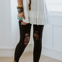 Distressed Denim Leggings - Vintage Black