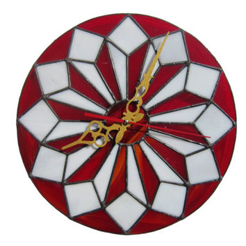 Wall Clock with geometric design in red and white colors - Unique stained glass wall art - Mid Century Modern Home decor