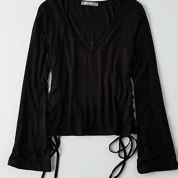 Don't Ask Why Bell Sleeve Shirt, Black