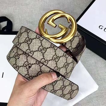 GUCCI Classic Hot Sale Woman Men GG Smooth Buckle Belt Leather Belt With Box