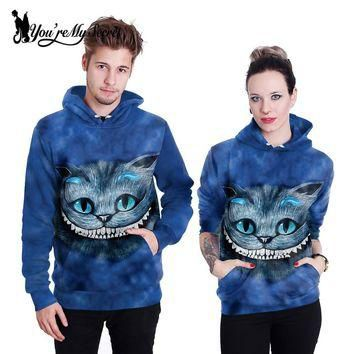 [You're My Secret] Fashion Alice Cat 3d Print Women Hoodies Sweatshirts Sudaderas Muje