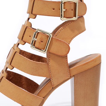 Miss Mischievous Camel Caged Heels