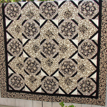 Quilt in Black Taupe and Cream - Throw Blanket - Bed Coverlet - Wall Hanging
