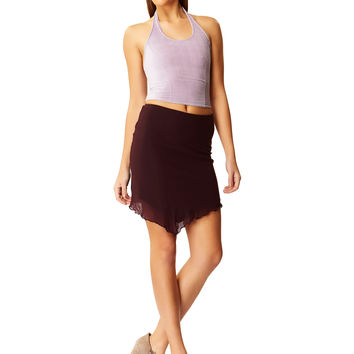 After Party Lilac Suede Halter Top