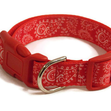 ON SALE Dog Collar - Red Paisley - Ribbon