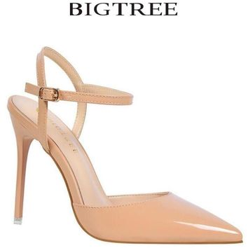 BIGTREE 2018 New Women Pointed Toe Slingbacks Pumps Thin Heel Buckle Strap High Heel Pumps Silver Closed Toe Pumps Shoes Party