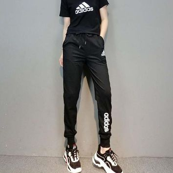 """Adidas"" Women Sport Casual Letter Pattern Print Round Neck Short Sleeve Trousers Set Two-Piece Sportswear"