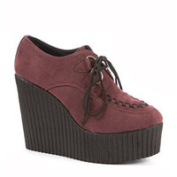 Burgundy High Wedge Creepers