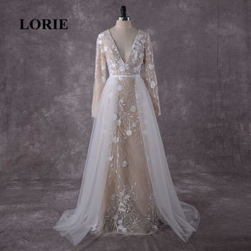 LORIE Plus Size Long Sleeve Lace Wedding Dress Detachable Train V Neck Custom Made Wedding Gowns Mermaid Bride Dress 2019 Real